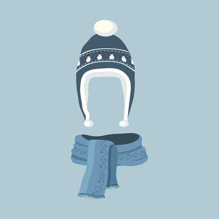 scarf: Winter hat icon. Knitted winter cap. Set winter hat isolated. Winter hat and cap. Isolated winter hat. Striped scarf isolated icon. Striped scarf isolated on white. Striped scarf. Scarves icon. Illustration