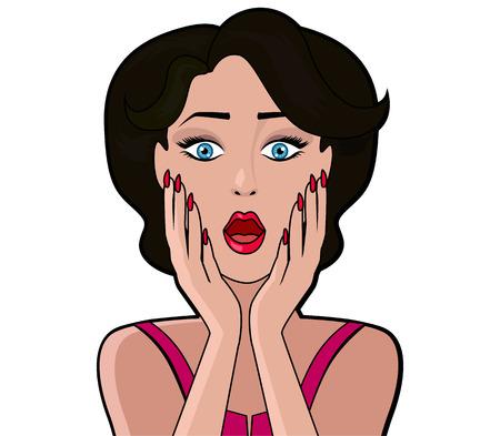 Cartoon donna attraente WOW. ragazza faccia, retro e donne moda vintage, persona di carattere, pop art, guardare e la bocca aperta, parola e illustrazione sorpresa. Acquisto della donna, femmina fumetto, arte ragazza Vettoriali