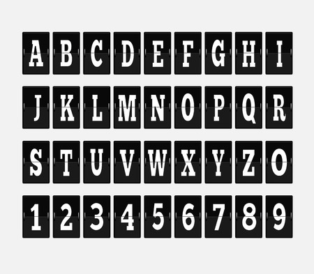 numeral: Scoreboard alphabet and set of figures. Letter and alphabet letters, font and numbers, abc typography, board and figure, number panel, information typeset, interface numeral illustration Illustration