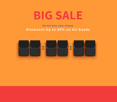 Opening soon. Big sale countdown. Sale big, discount and big savings, huge sale, sale banner, promotion shopping, countdown time, special bog sale, offer banner sale, retail banner timer illustration Illustration