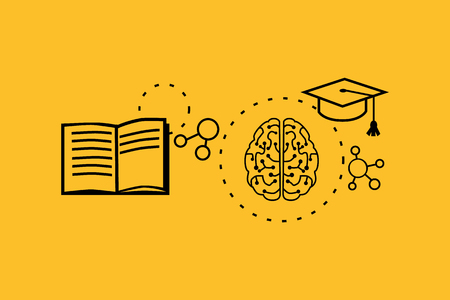 Imparare concetto di capacità di progettazione. educazione strategia, affari abilità di sviluppo, il lavoro soluzione, successo imparare, insegnare la motivazione, la formazione. Torna a shool. Sottile linea nera su giallo