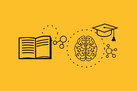 Lernfähigkeit Konzept-Design. Strategie Bildung, Entwicklung Geschäft Geschick, Lösung Arbeit, Erfolg lernen, Motivation Lehre, Ausbildung. Zurück zu shool. Dünne Linie schwarz auf gelb