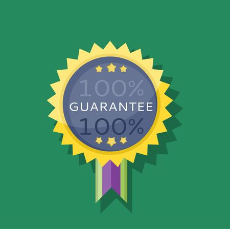 guarantee: Badge sticker guarantee design flat. Warranty and guarantee icon, satisfaction guaranteed, certificate guarantee label, quality guarantee tag, commerce guarantee ribbon, special guarantee illustration
