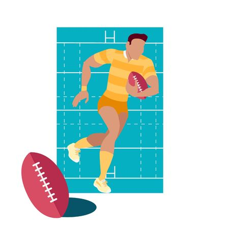 team game: Rugby sport concept icon flat design. Game american, team and equipment, competition and recreation, play and champion, tournament or championship, winner athletic illustration. Rugby sport Illustration
