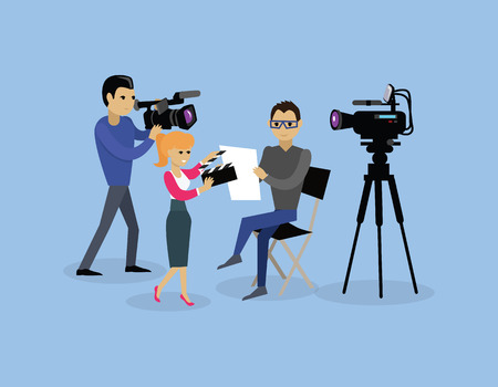 recording: Camera crew team people group flat style. Film crew, camera man, tv crew, video camera, television teamwork, recording movie, production studio illustration. Camera crew vector concept