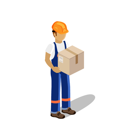 parcel: Isometric man delivery of goods isolated design. 3D Delivery man, delivery icon, free delivery, courier delivery, service delivery box, fast delivery, person parcel delivery, express delivery, postman