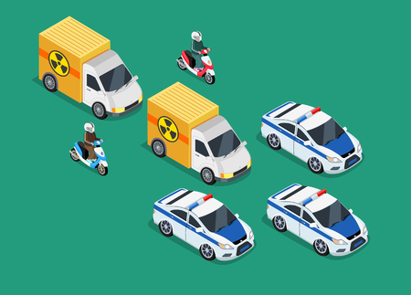 Isometric police motorcade car important toxic load. 3D Police guard, delivery escort, 3d policeman motorcycle, cortege car, toxic safety chemical, truck delivery danger, police storage hazardous