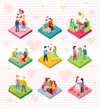 Isometric happy valentine day couple on date. 3D couple lover on valentine day, happy valentine, couple love young, shopping love couple, woman man restaurant, holiday valentine day man give flower