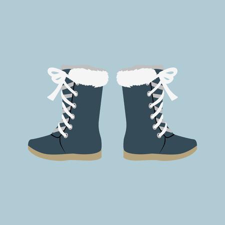 Winter schoenen. Winter schoenen geïsoleerd. Vilt laarzen. Leren schoenen. Laarzen met schoenveter. Paar schoenen. Winterlaarzen. Winter boot op een witte achtergrond. Mountain boot. Vector schoenen, laars