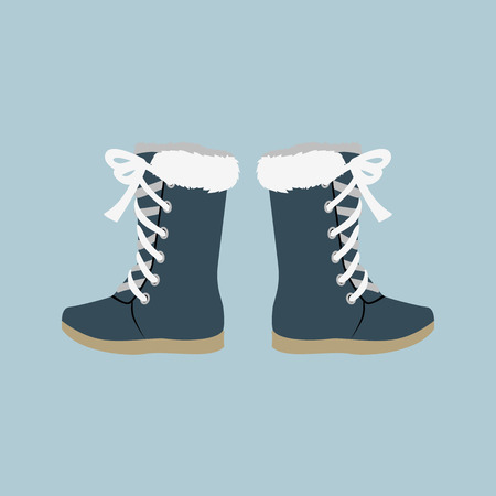 Winter shoes. Winter shoes isolated. Felt boots. Leather shoes. Boots with shoelace. Pair of shoes. Winter boots. Winter boot on a isolated background. Mountain boot. Vector shoes, boot Imagens - 52199828