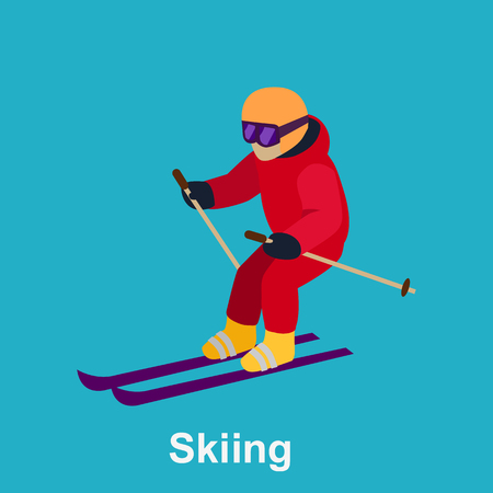cross country skiing: People skiing flat style design. Skis isolated, skier and snow, cross country skiing, winter sport, season and mountain, cold downhill, recreation lifestyle, activity speed extreme illustration