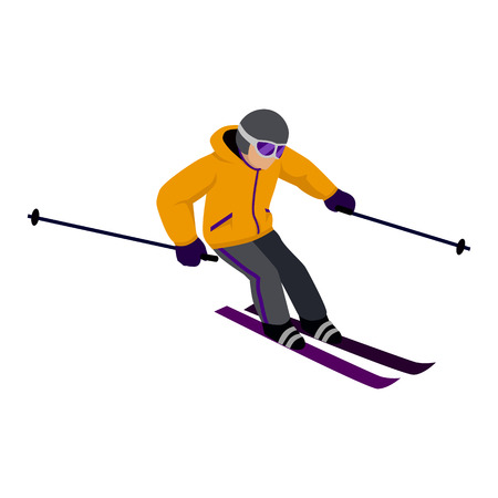 People skiing flat style design. Skis isolated, skier and snow, cross country skiing, winter sport, season and mountain, cold downhill, recreation lifestyle, activity speed extreme illustration Stok Fotoğraf - 52199833