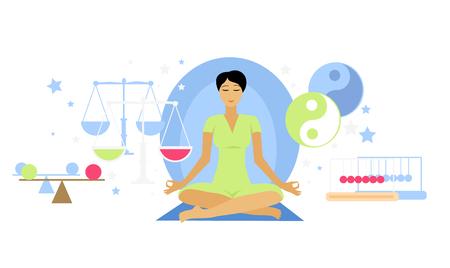armonia: Icono de la mujer del estado equilibrado plana aislada. Persona meditaci�n del yoga, la salud y el estado de �nimo, la expresi�n de la sensaci�n mental, relaje, el pensamiento y la armon�a, el estilo de vida emoci�n ilustraci�n