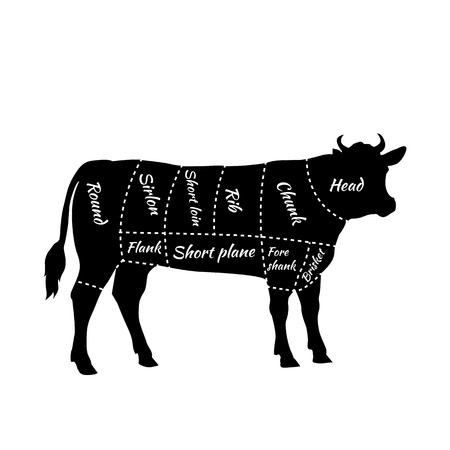 cow: American cuts of beef. Scheme of beef cuts for steak and roast. Butcher cuts scheme. Beef cuts diagram in vintage style. Meat cutting beef. Menu template grilling steaks and cow. Vector illustration Illustration