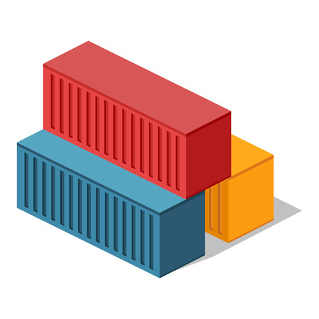 Isometric 3d container delivery. Cargo container, cargo and container, freight industry, export container, industrial comtainer, storage goods, delivery container, import heavy container illustration