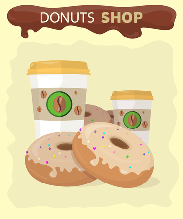 donut shop: Sweet donuts set design flat food. Doughnut, donuts coffee, donut isolated, coffee and cookies, cake bakery, dessert menu, snack pastry, tasty illustration. Donuts shop. Donut icon. Donuts with coffee
