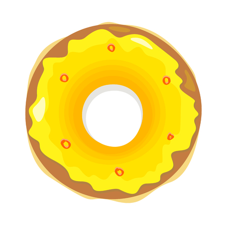 Donut logo. Sweet donuts design flat food. Doughnut, donuts coffee, donut isolated, coffee and cookies cake bakery, dessert menu, snack pastry, tasty. Donuts shop. Donut icon. Donuts glaze Illustration