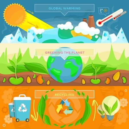 energías renovables: Ecología bandera plana de diseño. El calentamiento global, planeta saludo, reciclaje ecológico, concepto de la ecología de reciclaje, la naturaleza y el medio ambiente, la ecología verde, problema de temperatura, ilustración ecología natural orgánico