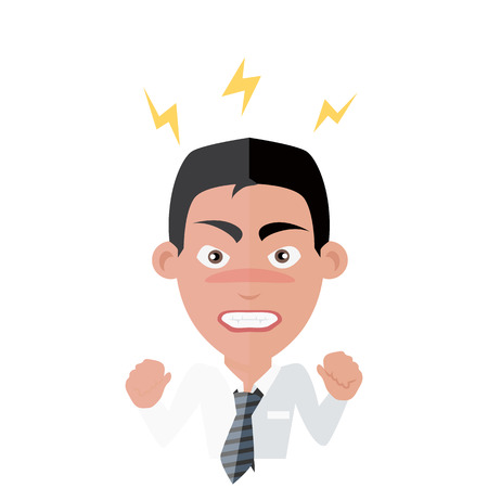 Emotion avatar homme succès en colère. Emotion et avatar, des émotions, des sentiments et des visages de l'intelligence émotionnelle, l'expression et le visage en colère, caractère homme émotion, personne succès illustration colère