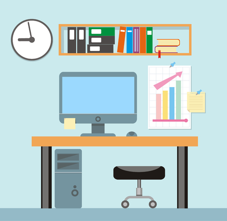 interior designer: Modern office interior with designer desktop in flat design. Interior office room. Modern office room. Office space. Vector illustration of office. Working place in modern office interior. Illustration