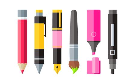 papírnictví: Malířské nářadí propiskou tužku a značka plochý design. Malířské a nástroje, nástroje pro kreslení, malování štětcem, kreslicí nástroje, tužku a fix, perokresba, psací nástroje pro malování, štětec ilustrace Ilustrace