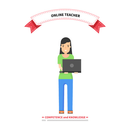 competence: Online teacher competence and knowledge. Teacher education, school teaching online, professor study internet, study web, course training online, technology online, professional teacher illustration