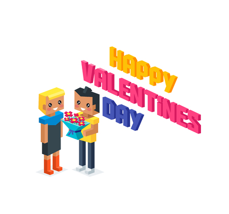 young relationship: Happy valentine day couple 3d isometric. Valentines day, happy valentine, young couple, happy couple, valentine couple in love, isometric 3d couple people, romantic relationship lover man give flower