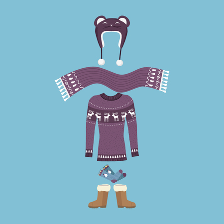 winter hat: Set of warm winter clothes design. Scarf and winter fashion, winter hat, winter coat, cloth and hat, jacket and glove, coat and boot, outerwear seasonal illustration. Woman winter clothes