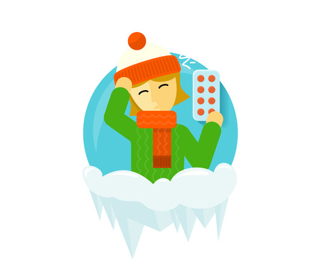 aching: Winter illness season people design. Cold and sick, virus and health, flu infection, fever disease, sickness and temperature, unwell and scarf illustration. Infected infographic. Illness concept