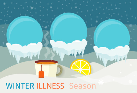 cough medicine: Winter illness season design. Cold and sick, virus and health, flu infection, fever disease, sickness and temperature, unwell vector illustration. Infected infographic. Illness concept