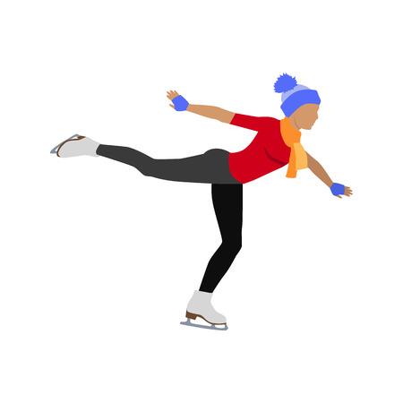 Menschen Skaten flach Stil Design. Eislaufen, Eiskunstlauf, Eisbahn, Sport-Lifestyle, Aktivität Freizeit, Winter und Eis, die Erholung im Freien Illustration. Menschen Eislauf getrennt