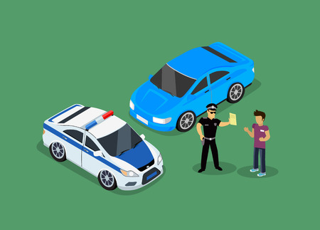 police: Isometric police fines car design flat isolated. 3D fine car, police officer traffic, policeman person fines, 3d transportation driver fines,  fines transport, sheriff fines guy security and violation