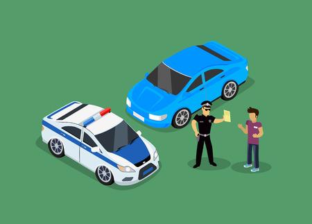 Isometrische politie boetes auto-ontwerp flat geïsoleerd. 3D mooie auto, politieagent verkeer, politieagent persoon boetes, 3d vervoer bestuurder boetes, boetes transport, sheriff boetes kerel veiligheid en schending Stock Illustratie