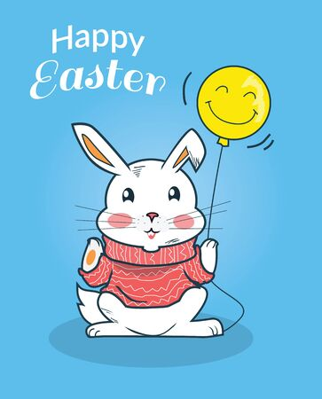 easter sign: Happy easter bunny design flat. Easter and easter bunny, happy easter card, easter card, card happy bunny, rabbit celebration easter, eater animal, greeting celebrate, happy rabbit easter illustration