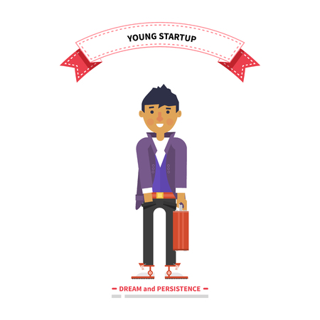 persistence: Young man startup dream and persistence. Startup young, dream persistence, startup business, entrepreneur and start, business, entrepreneurship and small business,  young professional illustration