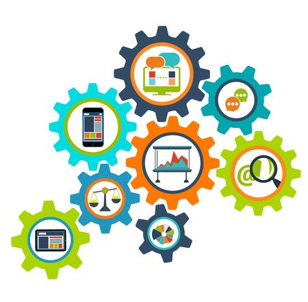 통신: 개념 프로세스 톱니 바퀴 디자인 평면. 프로세스 및 휠, 톱니 바퀴 벡터, 톱니 바퀴, 톱니 바퀴 아이콘, 톱니 바퀴 기어, 메커니즘의 진행 과정, 웹 통신