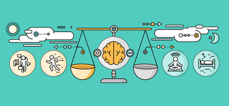 meditation help: Diagnosis of brain psychology flat design. Psychiatry therapy, disorder and meditation, emotion stress, human mind health, intellect and medicine, mental and neurology. Set of thin, lines icons