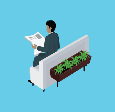 reading newspaper: Isometric man reading newspaper design flat. 3D man with newspaper, reader read newspaper, young man sit, business man read article, businessman reading, daily page, executive man read correspondence