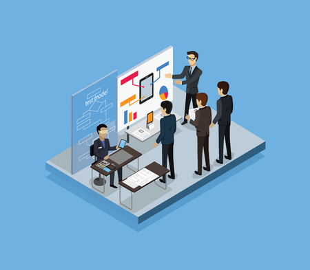 test: Testing test model 3d isometric. Model test, business development, plan and process testing, system project test, analysis testing management, research technology, test testing model illustration Illustration