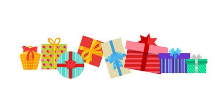 dar un regalo: Conjunto de cajas de regalos diseño plano. caja de regalo presente, la cinta y la caja de regalo del vector, caja de regalo aislado, caja de regalo para las fiestas de Navidad, caja de regalo sorpresa para el aniversario o cumpleaños o navidad ilustración de regalo Vectores