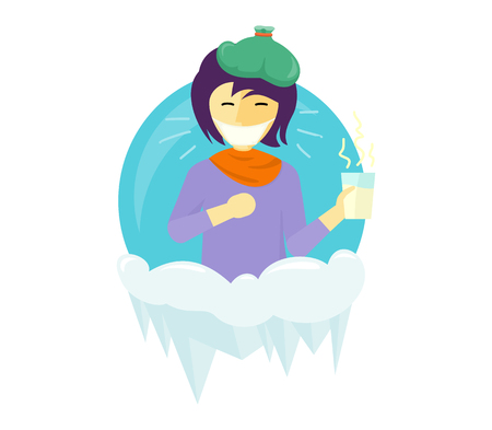 sickness: Winter illness season people design. Cold and sick, virus and health, flu infection, fever disease, sickness and temperature, unwell and scarf illustration. Infected infographic. Illness concept