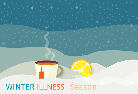 Winter illness season design. Cold and sick, virus and health, flu infection, fever disease, sickness and temperature, unwell vector illustration. Infected infographic. Illness concept