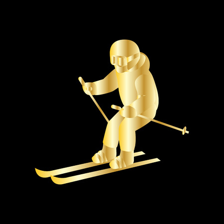 slopes: People skiing flat style design. Skis isolated, skier and snow, cross country skiing, winter sport, season and mountain, cold downhill, recreation lifestyle, activity speed extreme. Gold on black Illustration