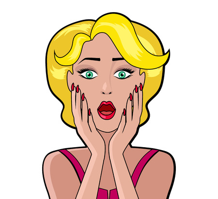 girl open mouth: Cartoon attractive woman WOW. Face girl, retro and vintage fashion female, character person, art pop, look and open mouth, speech and surprise illustration. Woman shopping, comic female, art girl