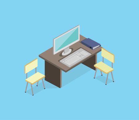 furniture computer: Workplace empty isolated design isometric. 3d Office and work, office workplace, business desk, office interior, empty table, interior isometric workplace, furniture and computer desktop illustration