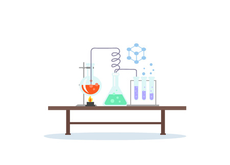 Biology laboratory workspace and science equipment concept. Medical laboratory. Chemistry laboratory workspace and science equipment concept. Laboratory research. Flat design vector illustration