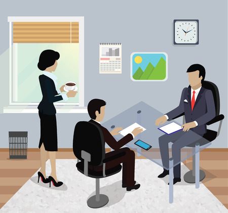 Isometric business meeting in office flat design. 3D Meeting business people, business team, meeting in office, work management, conference meeting company, organization business meeting discussion