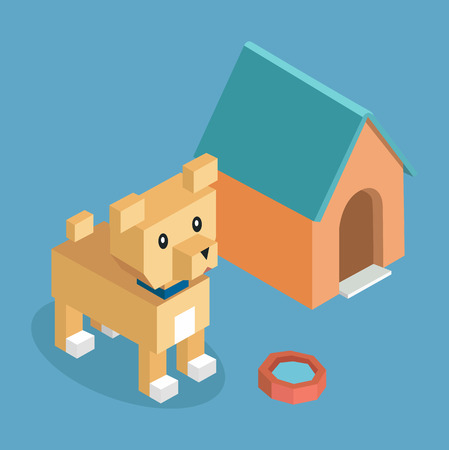 puppy cartoon: Pets set icon isometric 3d design. Pet and dog, dog house and dog, animal dog, dog of pets, puppy animal, kitten character, nature domestic pets, fauna dog animal, dog vector illustration Illustration