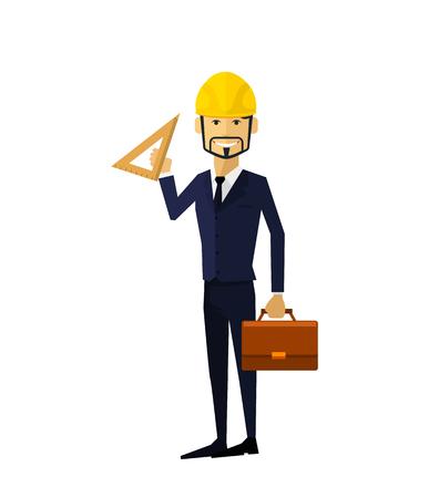 Bauprozess. Erfolg Ingenieur. Der Aufbau Prozessablauf, Bauprozess, Ingenieurtechnik, Hochbau, Geschäftsgebäude, Arbeitsprozess, Gebäudetechniker Vektor-Illustration