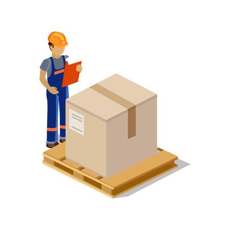 cartero: Hombre de salida isométrica de bienes aislado diseño. 3D hombre de entrega, icono de la entrega, la entrega gratuita, la entrega de correo, caja de prestación de servicios, la entrega rápida, la persona entrega de paquetes, de entrega urgente, cartero